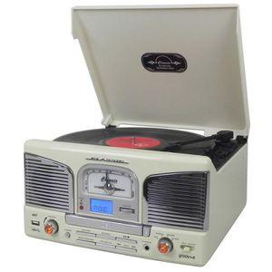 PLATINE VINYLE Groov-e GVTT03CM Crème Musique Vinyle Tourne-Disqu