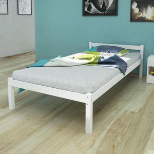 Structure de lit achat vente structure de lit pas cher cdiscount - Lit pin massif blanc 90 ...