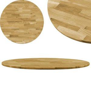 PLATEAU DE TABLE vidaXL Dessus de table Bois de chêne massif Rond 2