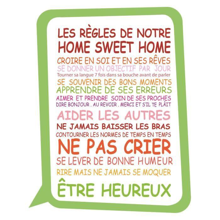 Stickers adhésif mural Les règles de notre home sweet home - 40x50cm