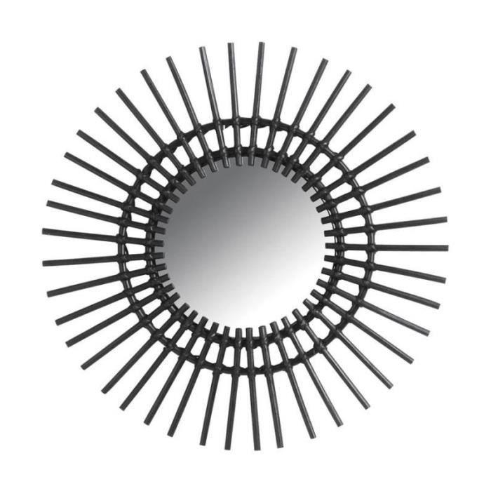 Miroir soleil - D 58 cm - Rotin - Noir - Achat   Vente miroir ... f37be4e2a409