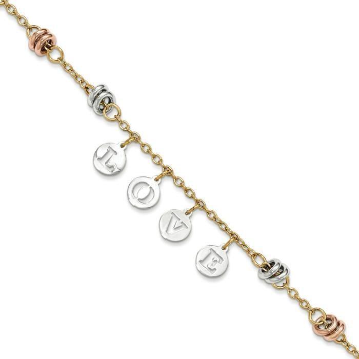 Tri-color poli 14 carats découpe Love Bracelet 7,5 cm