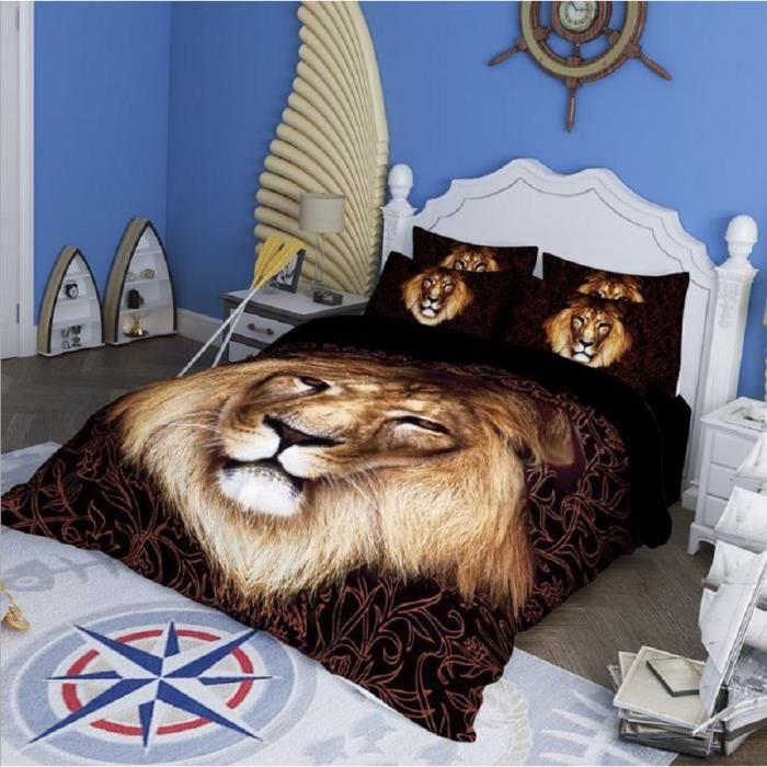 3d Ensembles De Literie Noir Lion Tigre Imprime Lits Reine Roi