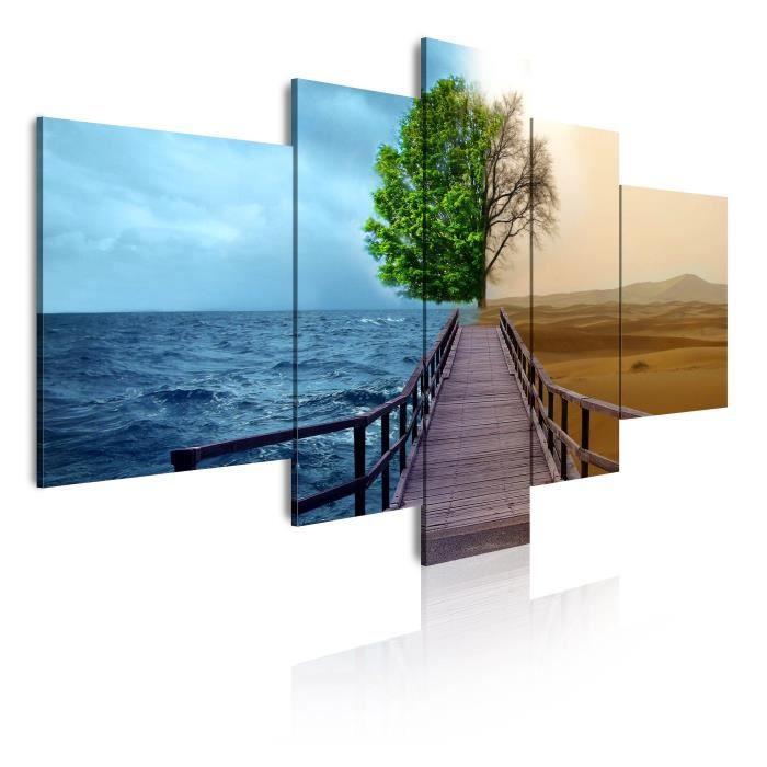 toile tableau cadre design moderne paysage mer et d sert 127 180x85 achat vente tableau. Black Bedroom Furniture Sets. Home Design Ideas