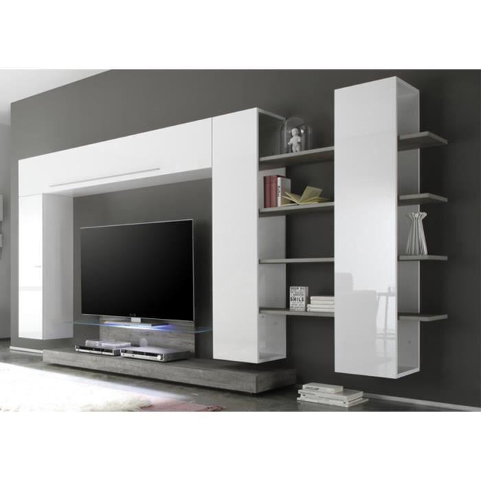 Ensemble meuble TV mural blanc laqué Clara - Avec éclairage - Achat ...