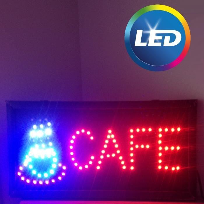 """Turbo Enseigne lumineuse LED """"Café"""" - Panneau publicité boutique pour  WO08"""