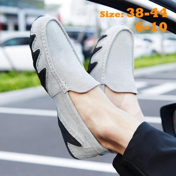 MOCASSIN pour Hommekaki 10 Suede en cuir Mocassins Slip Flats Chaussures Auto hommes_46277