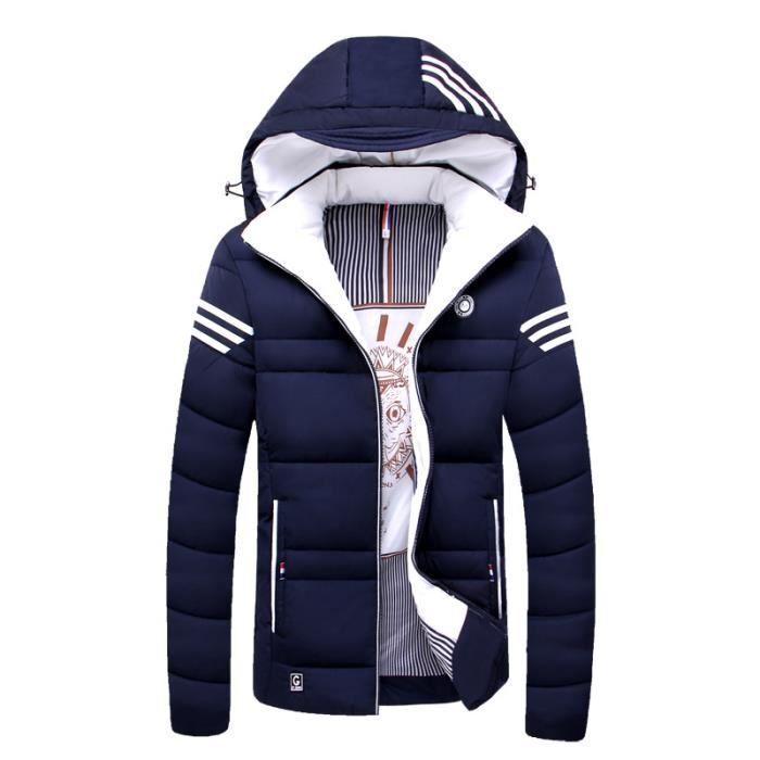 ae4cf7ac87755 Mode Bleu Luxe Epaississant Hiver Capuche Homme Marque De Masculin Vêtement  rouge A Doudoune SqAwgxPI8f