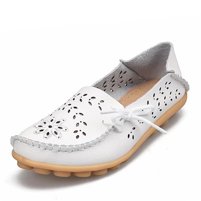 Mocassin Femmes ete Loafer Ultra Leger Respirant Chaussures BLLT-XZ051Blanc43