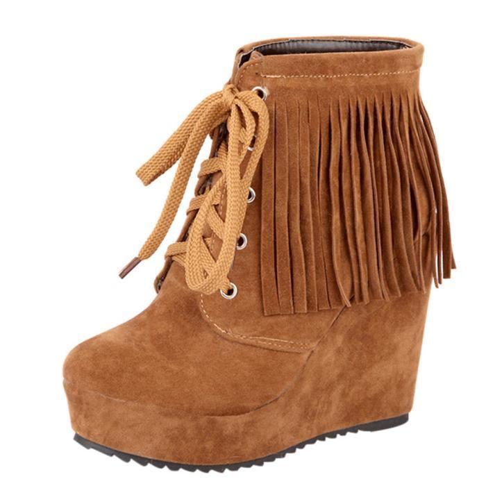 Talon Bottes Mode Lace Femmes Marron Haut Chaussures Court up Tassel Compensées Ed84nYdU