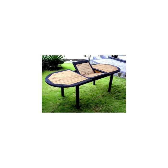 Table en teck brut et résine ovale 180-240 cm - Achat / Vente table ...