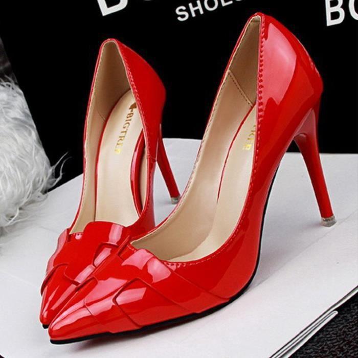 Chaussures Haut Aiguille Verni Élégant Escarpins Travail Tomwell Talon En Femme Pu Pumps Sexy HSqvBvxAPw