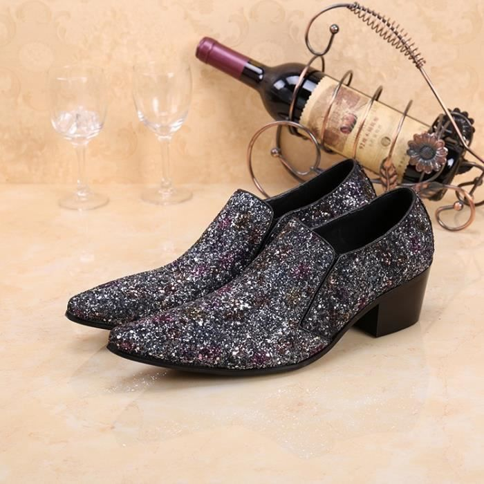 Bling bling Silver Glitter Hommes Chaussures Party Pointu Slip Toe On Solid New Mode Marque Brillant Appartements Concise