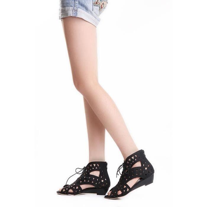 Sandales femme plat ouvrir orteil bas cales plage d'été Bouche de poisson