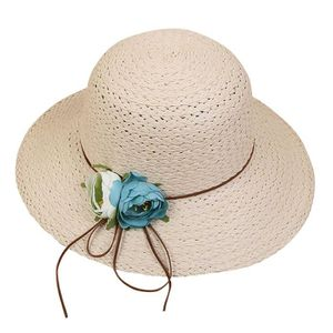 CHAPEAU - BOB chapeau femme, chapeau de paille avec fleur pour f 87e12cfe548