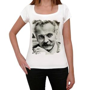 TSHIRT - POLO Georges Brassens Tshirt, Tshirt Femme Blanc, Cadea