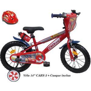 VÉLO ENFANT Vélo 14'' CARS 3 avec Casque + Bidon + Plaque avan