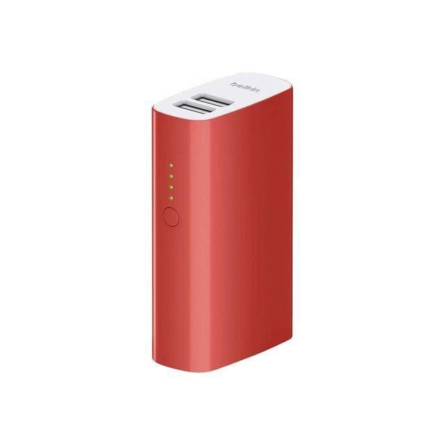 BELKIN Batterie de secours - Double port USB 2.4A (2 x 2.1A), 4400Mah - Rouge