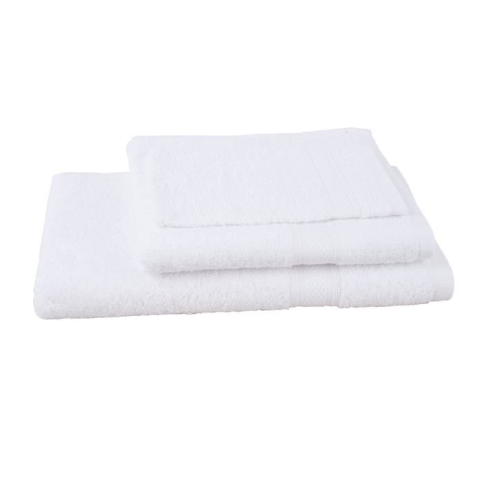 JULES CLARYSSE Lot de 1 serviette + 1 drap de bain + 1 gant de toilette Élégance - Blanc