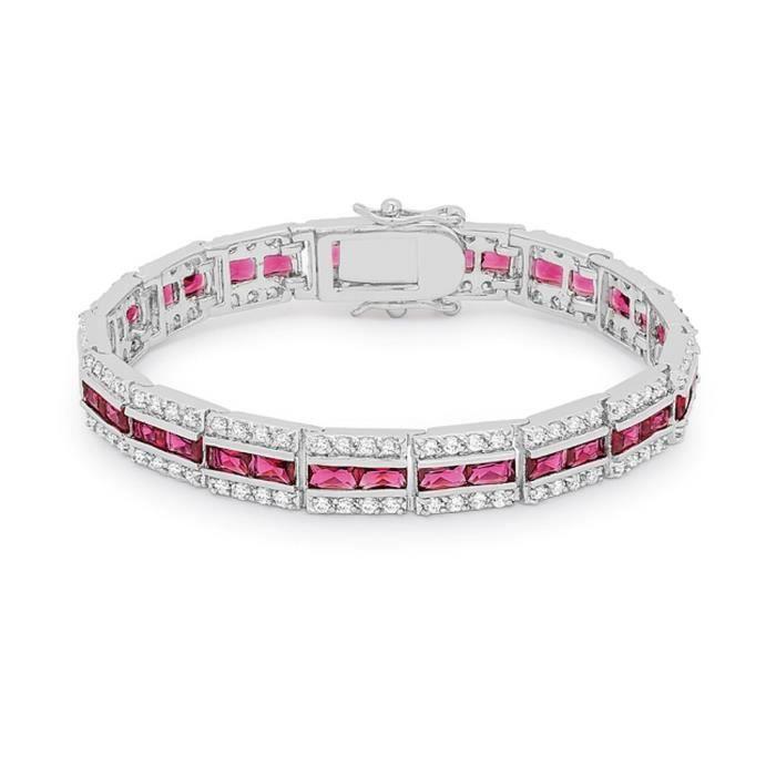 BestOfBijoux® - Maggie Red -Tennis Bracelet - Bracelet Femme - Oxyde de Zirconium [18.5cm/7.25inch]