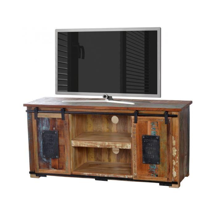Meuble Tv Rustique 130x40 Cm En Bois Recycle Multicolore Et En Metal
