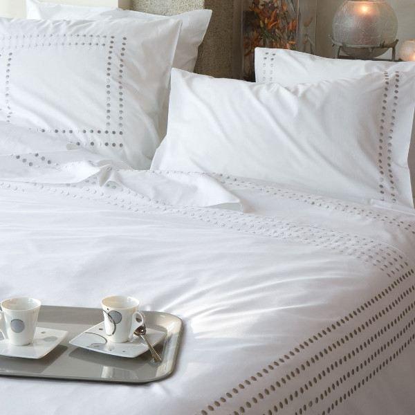 housse de couette 240x220 venezia blanc pastilles. Black Bedroom Furniture Sets. Home Design Ideas