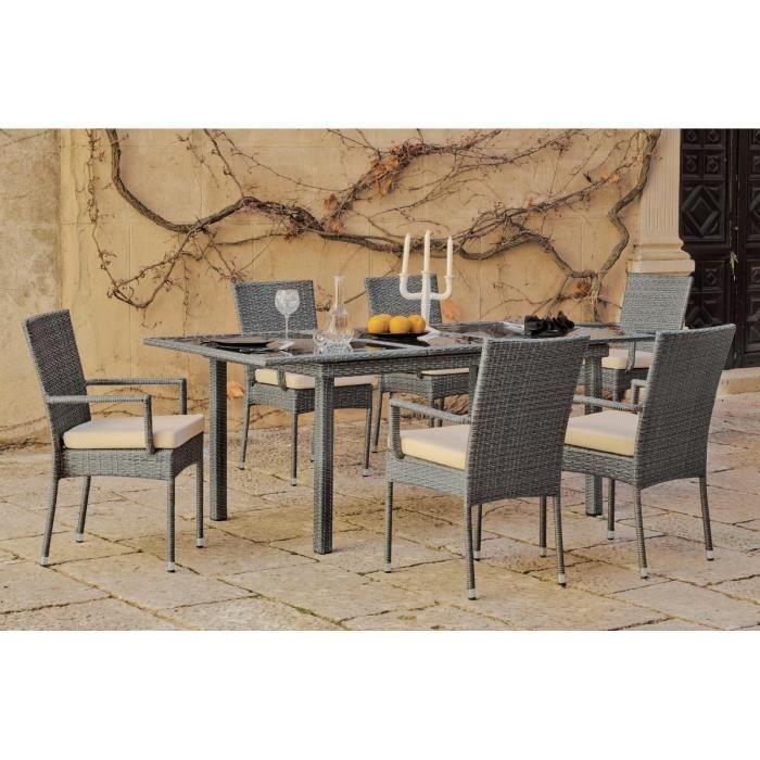 Table de jardin rallonge résine grise Mali - Achat / Vente ...