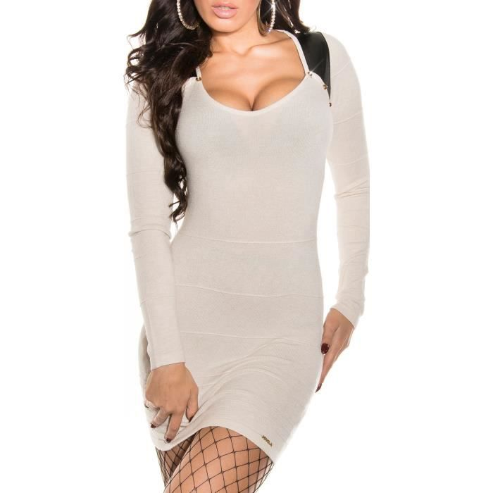 343f47d16fe Robe pull long laine beige sexy femme - Achat   Vente robe ...