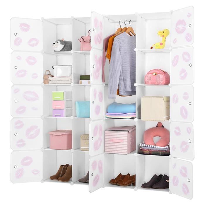 Langria 20-Cube Armoires modulaire Étagères Plastique Meuble Rangement  Chambre Moderne avec portes + simple pendaison Blanc