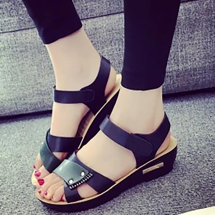 British Fashion Casual Sandales plates de la femme
