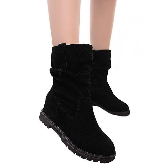 Minetom Femme Hiver Élégant Tête Ronde Chaussures Plates Bottes Slouchy Bottes de Neige Doux Bottes Plateforme Chaussures