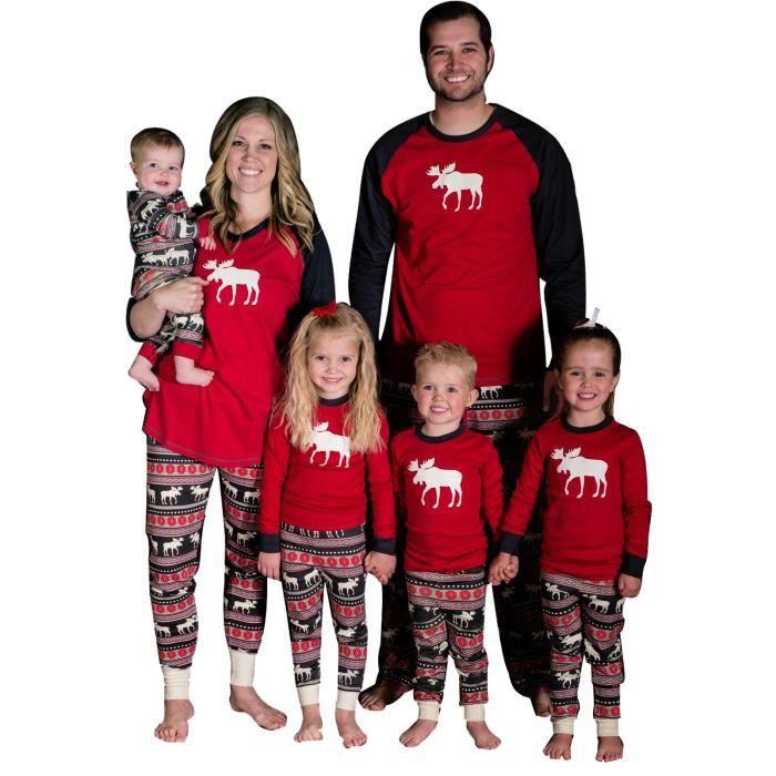 faf9d76ed9801 2pcs Noël Fawn Deer Vêtements de Famille Père Mère Enfant Garçon ...