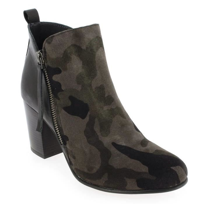BOTTINES REQINS AUDREY ARMY/CUIR