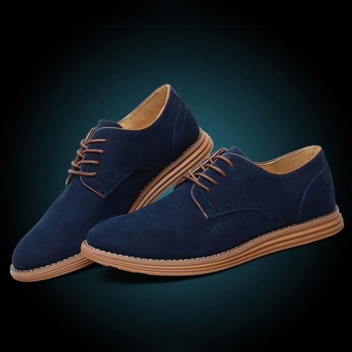 Oxford Flats en cuir décontractée Mode homme Mocassins en cuir pour homme,bleu,7,6545_6545
