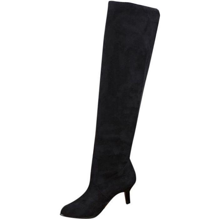 BOTTE Femmes Suede Plus de chaussures de genou Bloc Moye