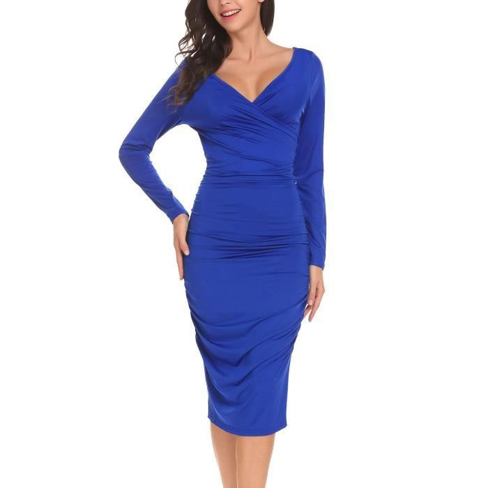 Femmes robe occasionnels col v profond paquet hanche side ruffle sexymoulante