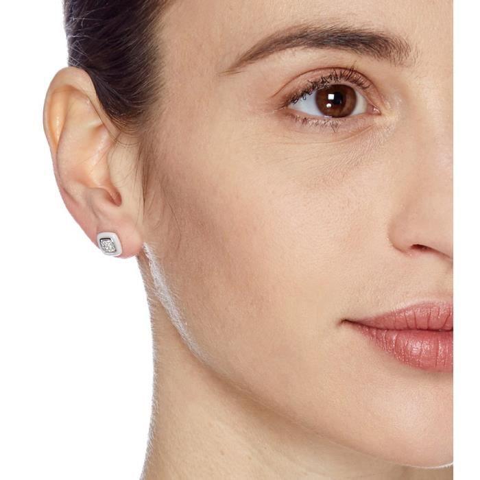 Mes-bijoux.fr - Boucles doreilles Femme en Céramique Blanche et Argent 925-1000 - 7EH4783WAgv