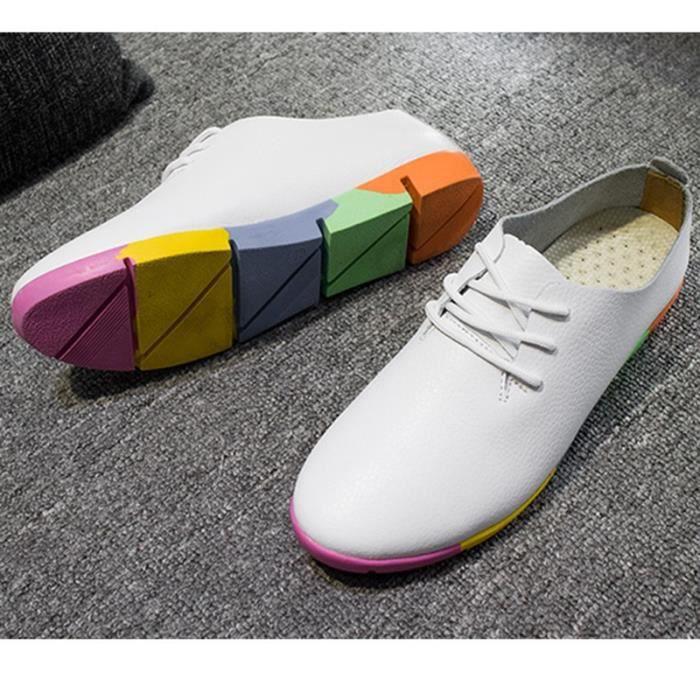 chaussures multisport Femme simple cuir véritable Souliers simples de femme blanc taille35