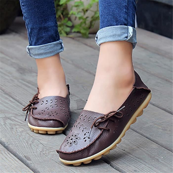 Loafer Plate xz051marron41 Femmes Leger Ete Chaussures Ultra Bj Snw8WpxTq