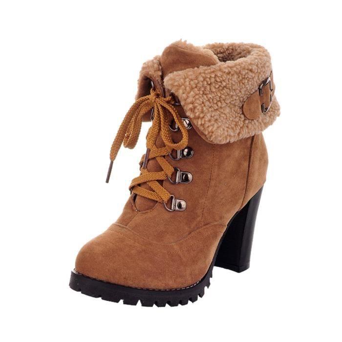 Sidneyki®Bottes en peluche occasionnels d'hiver pour femmes Bottines à lacets à talons hauts YEJaune ASD348 Gjk0BBWP9O
