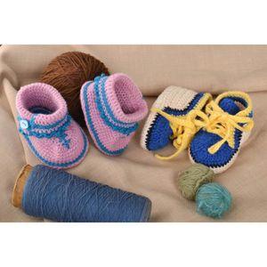 info pour f6f91 1e7cf Chausson bébé Pantoufles bébé fille fait main Chaussons bébé ...