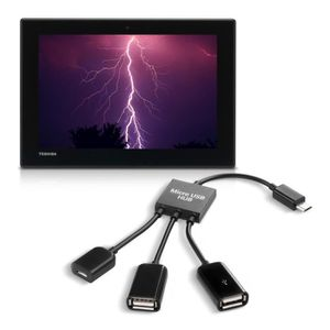 CÂBLE TÉLÉPHONE kwmobile Adaptateur 3en1 micro USB OTG hub pour To