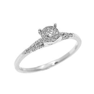 BAGUE - ANNEAU Bague Femme 10 Ct Or Blanc Diamant Elégant Solitai