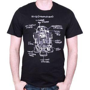 T-SHIRT T-Shirt Adulte Star Wars : R2D2 Croquis - Noir