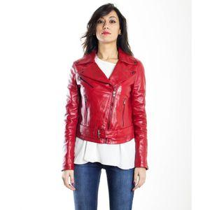 SANDY CHIODO couleur rouge veste en cuir femme perfecto cuir