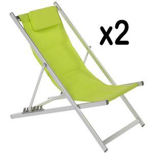 chaise longue lot de 2 chiliennes verte en aluminium et texaline - Chilienne Pas Cher