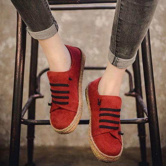 Femmes dames simples chaussures à semelle plate cheville femmes bottes à lacets en cuir suédé rw@418 Rouge Rouge - Achat / Vente botte