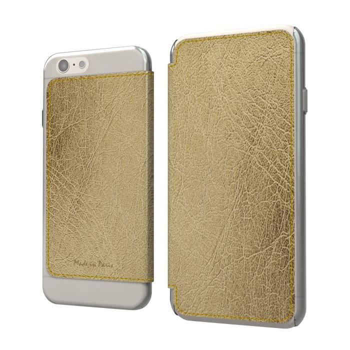 MUVIT Made in Paris Etui - Crystal - Pour Apple Iphone 6, 6s + - Lucca metal champagne