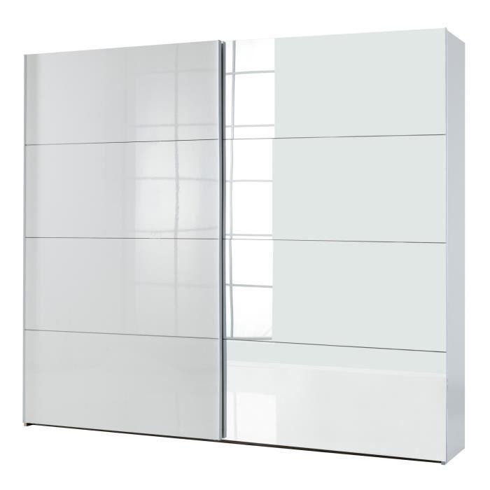 seatle armoire 2 portes coulissantes blanc laqué - achat / vente