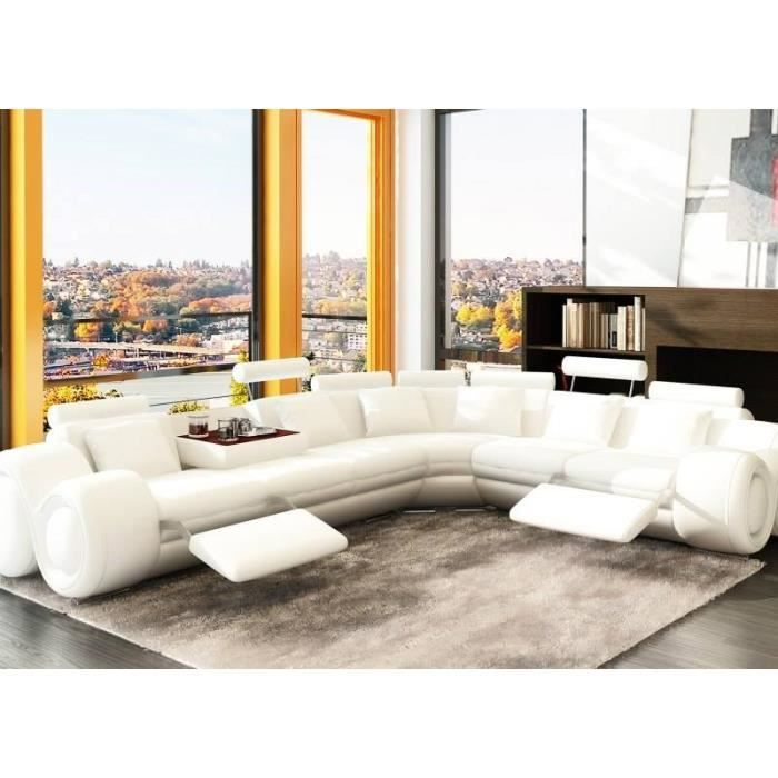 CANAPé D ANGLE CUIR DESIGN BLANC POSITIONS RELAX Achat Vente